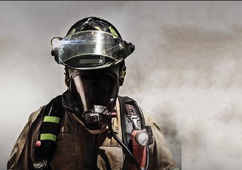 FireFighter walking through smoke