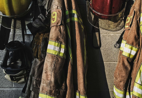 FireFighter Gear Hanging on Wall